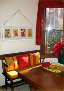Cary breakfast nook with custom cushions made with fabric from The French Connection
