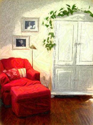 Superbe Red Chair Home Interiors | Cary, NC Interior Decorator